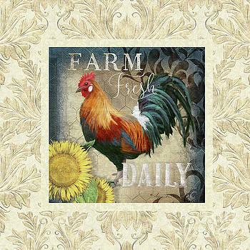 Farm Fresh Damask Red Rooster Sunflower by Audrey Jeanne Roberts