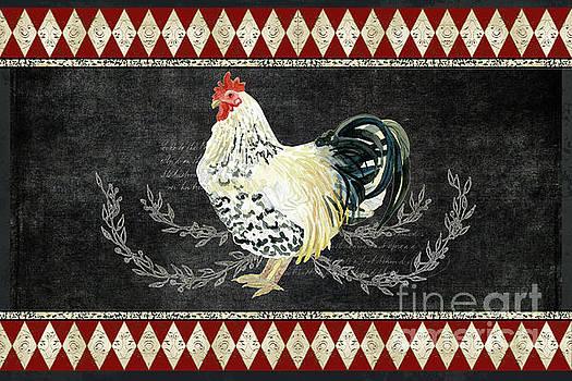 Farm Fresh Rooster 3 - On Chalkboard w Diamond Pattern Border by Audrey Jeanne Roberts