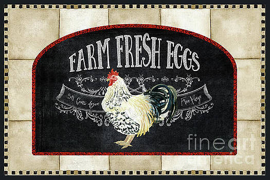 Farm Fresh Roosters 1 - Fresh Eggs Typography by Audrey Jeanne Roberts