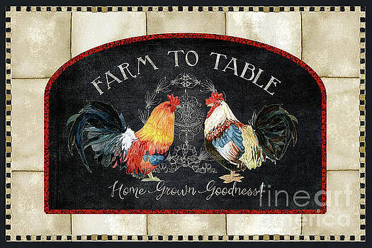 Farm Fresh Roosters 2 - Farm to Table Chalkboard by Audrey Jeanne Roberts