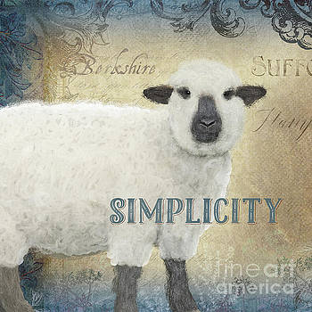 Farm Fresh Sheep Lamb Simplicity Square by Audrey Jeanne Roberts