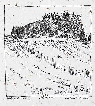 Martin Stankewitz - farm, trees and fields,ink drawing