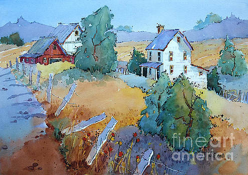 Farm with Blue Roof Tops by Joyce Hicks