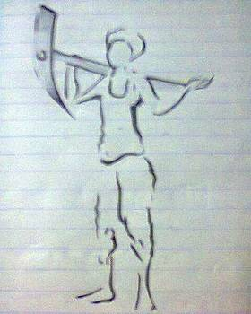 Farmer Sketch by Madhusudan Bishnoi