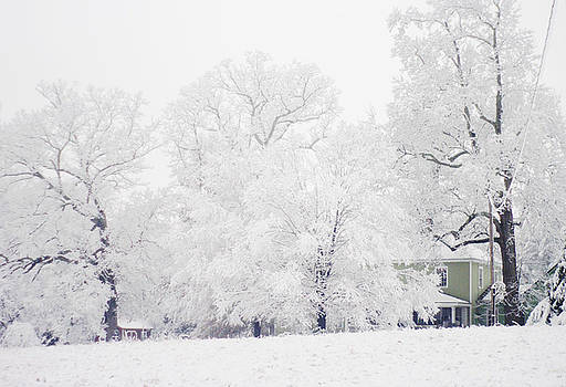 Farmhouse In A Winter Snow Storm by Suzanne Powers