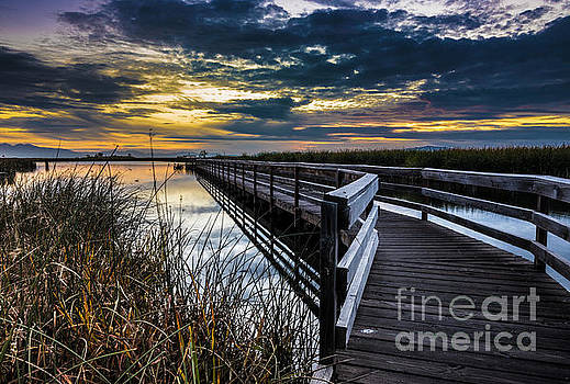 Farmington Bay Sunset - Great Salt Lake by Gary Whitton