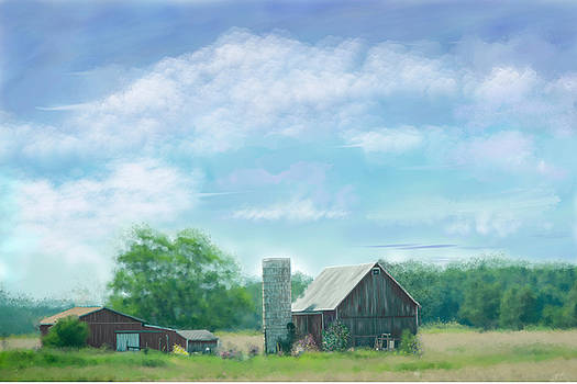 Farmstead Under Blue Skies by Mary Timman