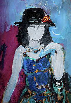 Fashion woman with vintage hat and blue dress by Amara Dacer