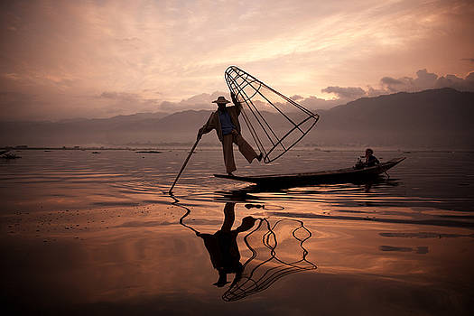 Father and son fishing dance. by Lucas Dragone