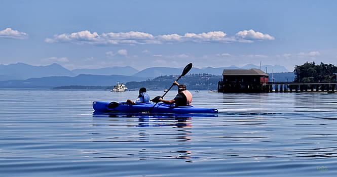 Father and Son Kayak by Rick Lawler