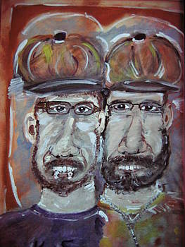 Father and Son wearing Whimsical Newsey Caps by Bob Smith