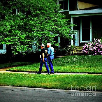 Father and Son Wisdom Walk - Square by Frank J Casella