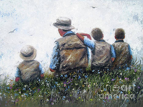 Father and Three Sons Talking by Vickie Wade
