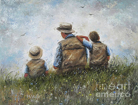 Father and Two Sons Talking by Vickie Wade