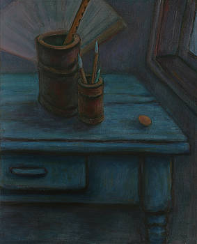Father Made me a Blue Desk - Unfinished Still Life by Xueling Zou