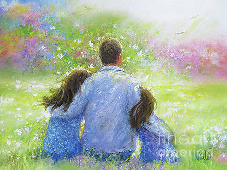 Father Two Daughters Garden by Vickie Wade