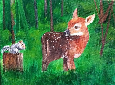 Fawn with squirrel by Ellen Canfield