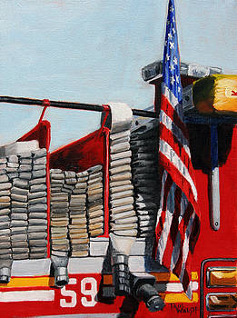 FDNY ENGINE 59 American Flag by Paul Walsh