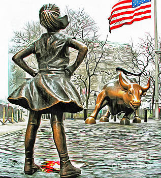 Fearless Girl and Wall Street Bull Statues 5 with American Flag by Nishanth Gopinathan