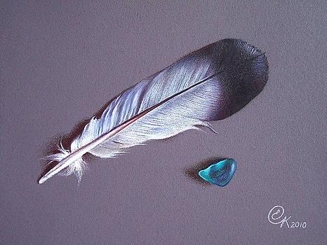 Feather and sea glass 1 by Elena Kolotusha