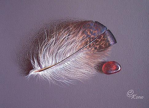 Feather and sea glass 3 by Elena Kolotusha