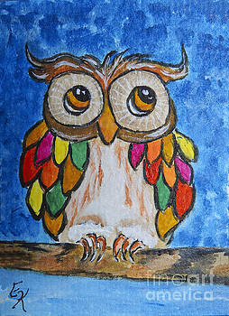 Feathers of Many Colors Owl art painting print by Ella Kaye Dickey