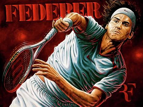 Federer Giclee Limited Edition Canvas Print by Sports Art World Wide John Prince