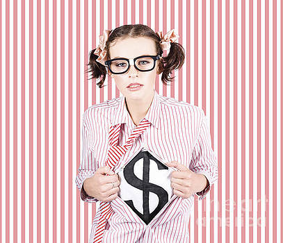 Female Business Superhero Showing Dollar Sign by Jorgo Photography - Wall Art Gallery