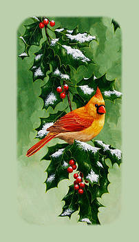 Crista Forest - Female Cardinal and Holly Phone Case