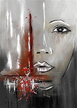 Female Half Face on Grey Abstract by Eduardo Tavares
