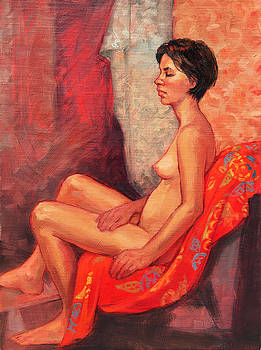 Female Nude on Red by Roz McQuillan