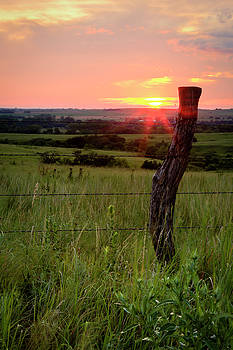 Fence Post at Sunset by Scott Bean