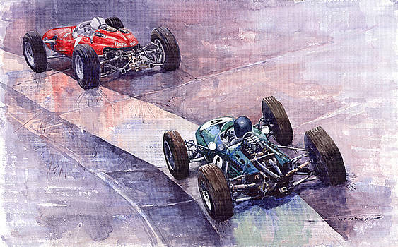 1964 Ferrari 158 vs Brabham Climax German GP 1964 by Yuriy  Shevchuk