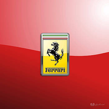 Serge Averbukh - Ferrari 3D Badge-Hood Ornament on Red