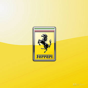 Serge Averbukh - Ferrari 3D Badge- Hood Ornament on Yellow