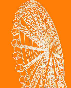 Ramona Johnston - Ferris Wheel Silhouette Orange White