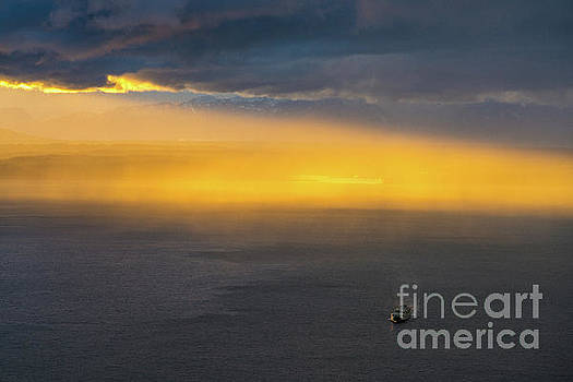 Ferry Crossing Sunset Rain Squall by Mike Reid