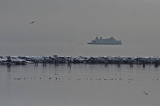 Ferry on Snowy day by Alan Thal