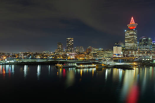 Ferry Terminal in Vancouver BC at Night by David Gn