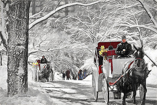Festive Winter Carriage Rides Black And White by Sandi OReilly