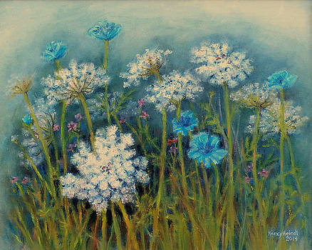 Field Flowers With Queen Annes Lace by Nancy Heindl