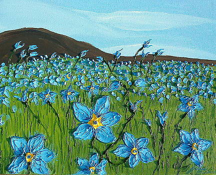 Field Of Blue Flax Flowers 4 by Portland Art Creations