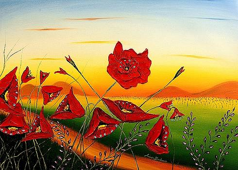 Field Of Red Poppies #5 by Portland Art Creations