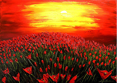Field Of Red Poppies At Dusk #1 by Portland Art Creations