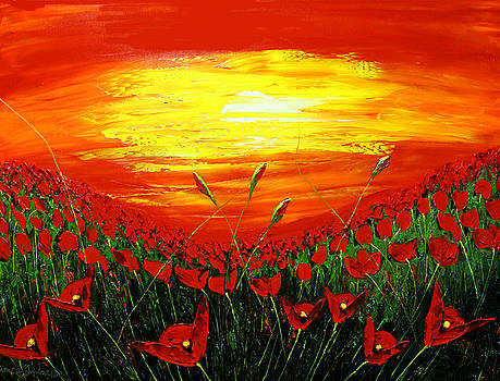 Field Of Red Poppies At Dusk #2 by Portland Art Creations