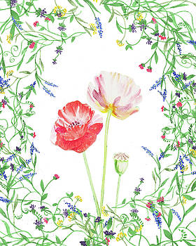 Field Poppies And Wildflowers Watercolor  by Irina Sztukowski