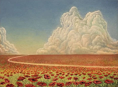Field with red flowers by Alexander Dudchin