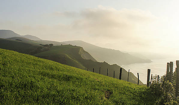 Fields with sea view in the Basque Country, North Spain by Maria Preibsch