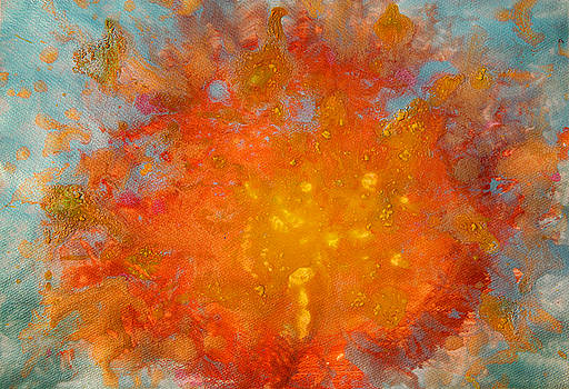 Fiery Sunset Abstract Painting by Julia Apostolova