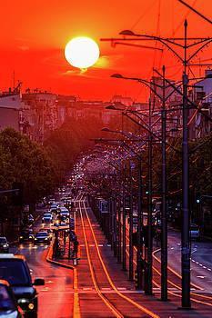 Fiery sunset in Belgrade Belgradehenge by Dejan Kostic